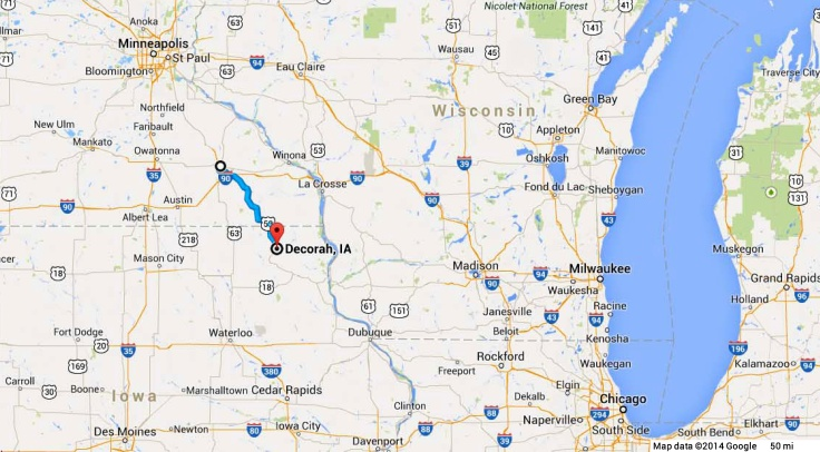The blue line shows the route from I-90 to Decorah, Iowa.