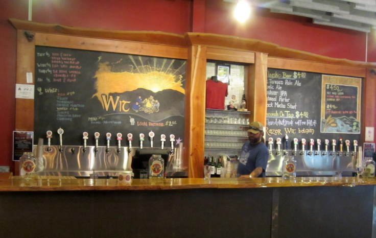 The bar in the Highland Brewing tasting room.