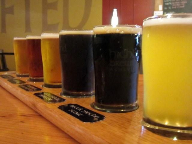 The tasting flight at Highland Brewing.
