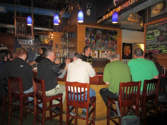 The bar at Three Floyds on a Wednesday night.