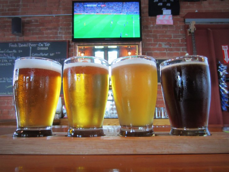 Watching the world cup in style.  The beers from left to right are JAF IPA, Hop Stunt IV, Harvest Saison and Roggenbier.