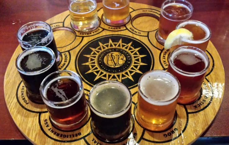 The sampler tray at PVB, 10 beers for $10.