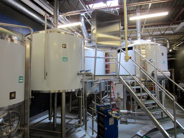 The new brewing equipment at Zauber.  So new the white protective tape has yet to be removed.