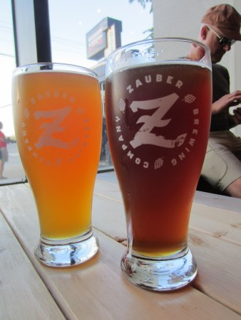 Vertigo hefeweizen and Myopic Red alt bier.