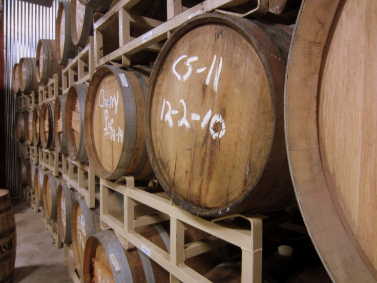 A few of the barrels used for aging beer.