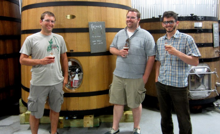 My partners for the day in front of a Foudre of Helena. Left to right you have Brian, Brent and Jamie