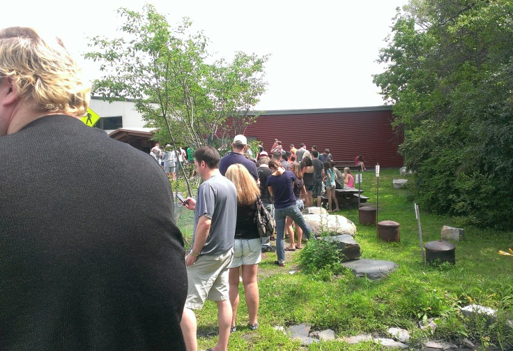 The Friday afternoon queue for Heady Topper at the Hunger Mountain Co-Op.