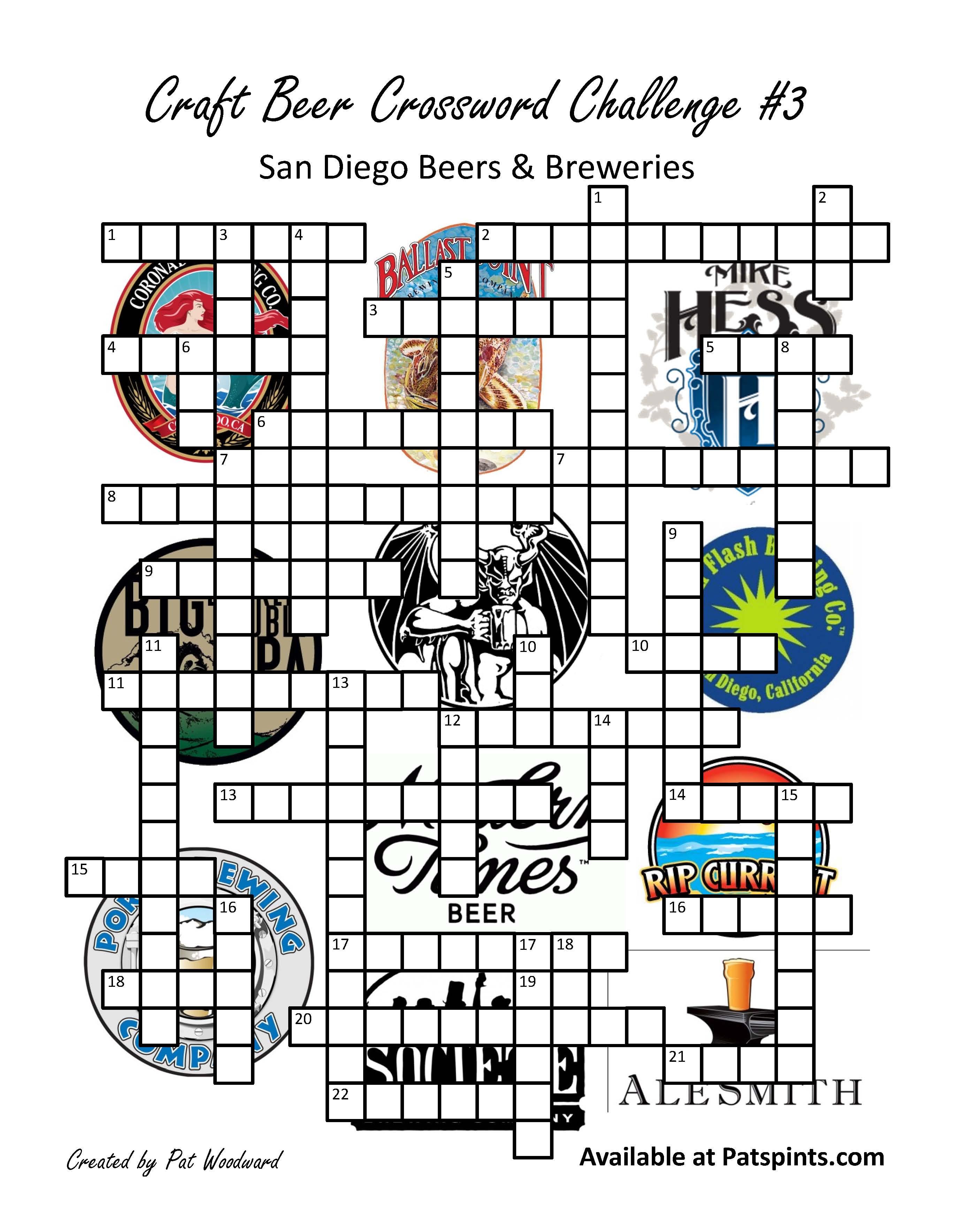 San Diego Craft Beer Crossword Puzzle | Pat's Pints