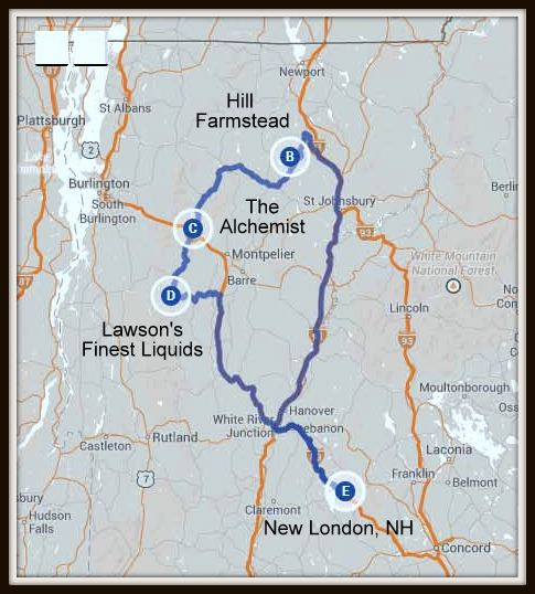 Vermont Breweries Map