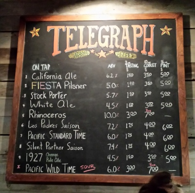 The beer menu at Telegraph.