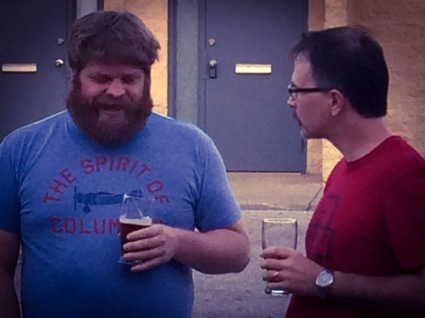 Fred and I enjoying a preview of barrel aged Conductor.