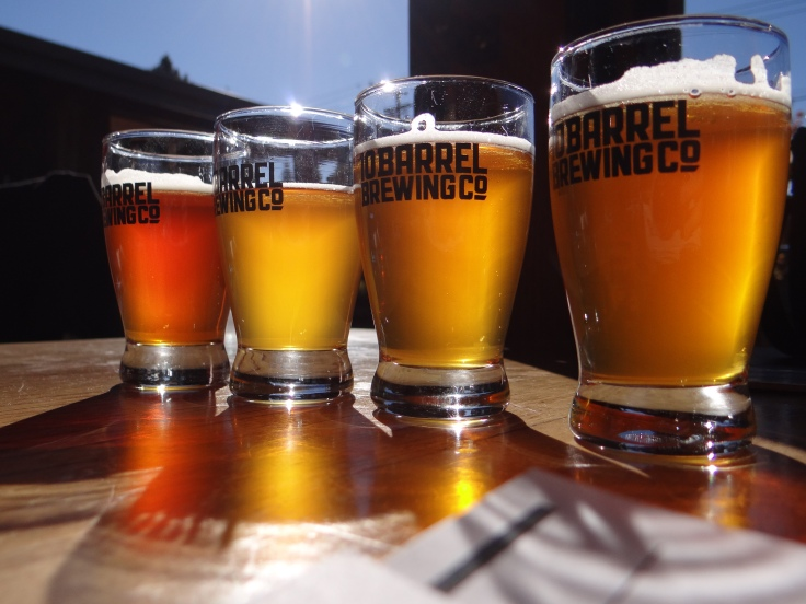 A flight of fresh hopped IPAs at 10 Barrel Brewing Co.