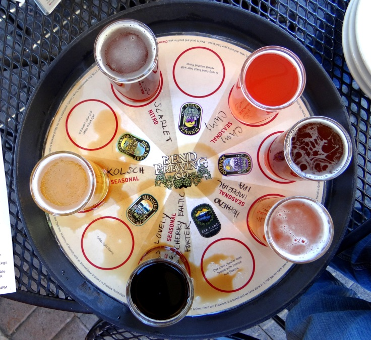 The tasting flight at Bend Brewing Co offers a rainbow of colors.