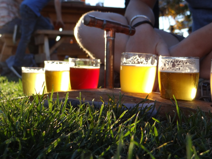 Enjoying a tasting flight on the lawn at Crux.