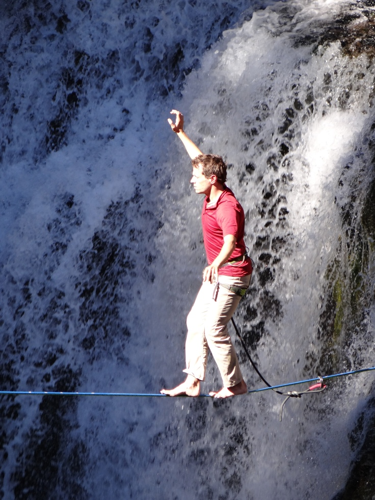 Walking the tightrope over Tumalo creek.  People will do anything for a beer in Bend.