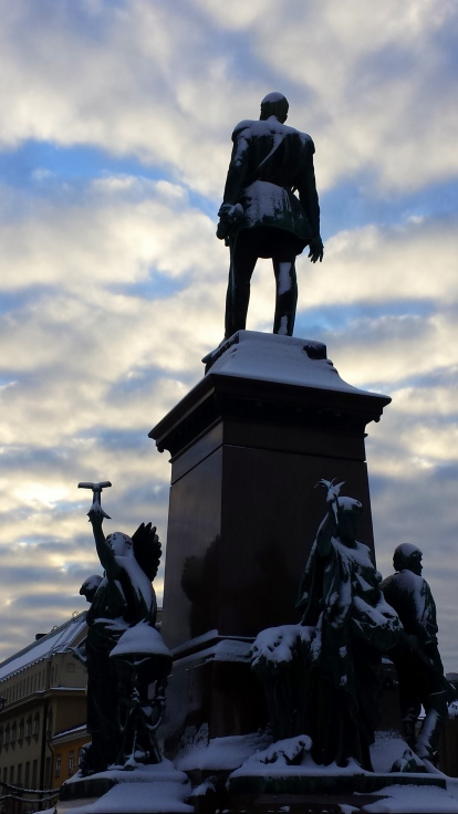 The statue of Alexander II located in front of Helsinki cathedral.
