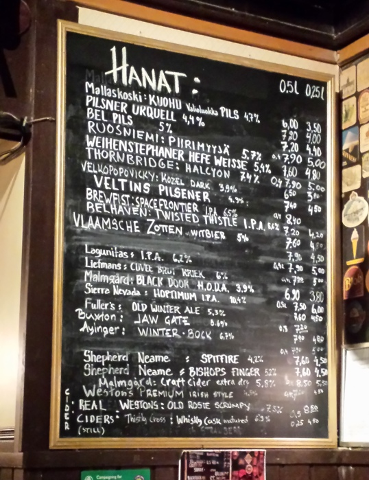 Check out the prices and selection of ales at the Black Door.