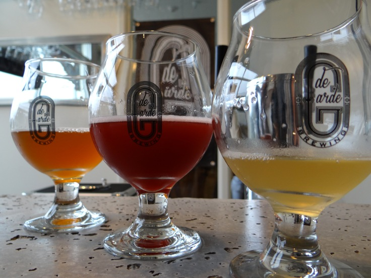 The beers of de Garde, from left to right Herbes Houblon, Marion Bu, and Bu Weiss.