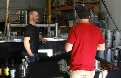 Craig O'Herron talks shop at the Sideswipe taproom.