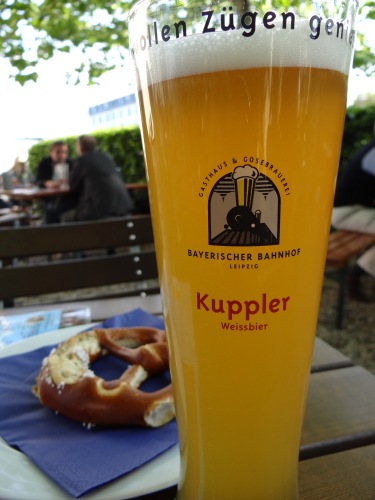 The gose and pretzel at Bayerischer Bahnhof.