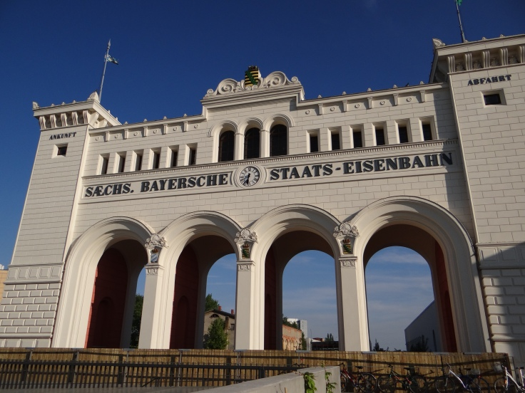 The portico of the Bayerischer Bahnhof station, Germany's oldest train station first opened in 1842.
