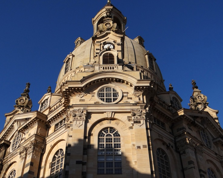 The rebuilt Frauenkirche in the heart of old town Dresden.