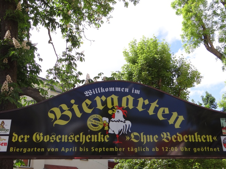 The entrance to the Ohne Bedenken beer garden.
