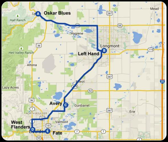 A map of our stops in Boulder. For a sense of scale the distance from Left Hand to West Flanders is 13 miles.