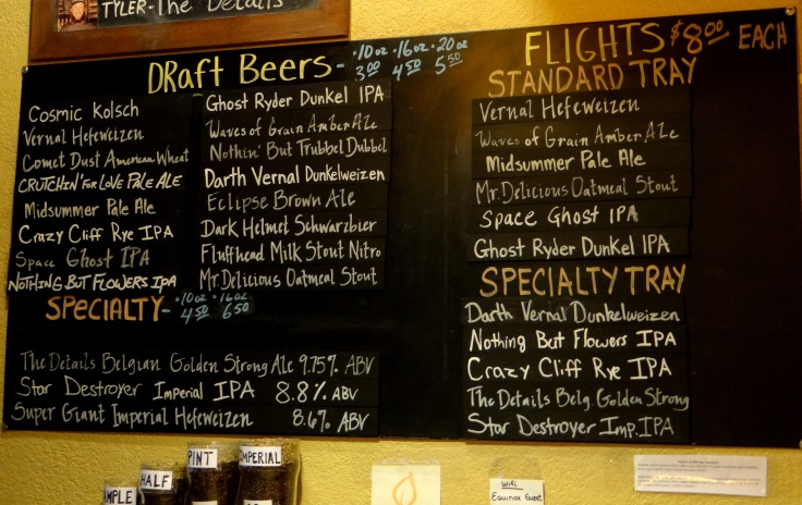 The extensive beer menu at Equinox Brewing