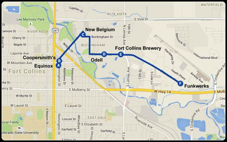 The stops on the Fort Collins leg of our trip. As a sense of scale the distance from Equinox to Funkwerks is just over 2 miles.