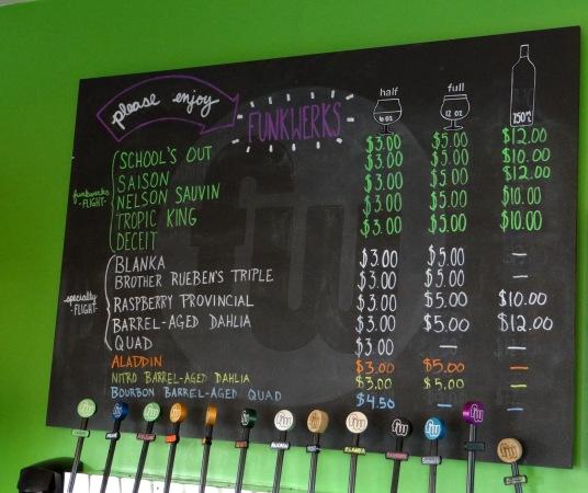 The menu board at Funkwerks.