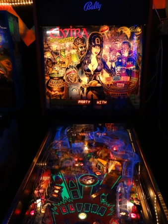 The Elvira pinball machine in the game room at Oskar Blues in Lyons. An arcade straight out of the early 1980s.