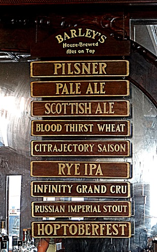The taplist at Barley's when we visited.