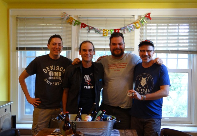 Every day is like your birthday when you're drinking Zombie Dust and Humulus Nimbus. Left to right the tasting panel: Kyle, Ted, Chris, and yours truly.