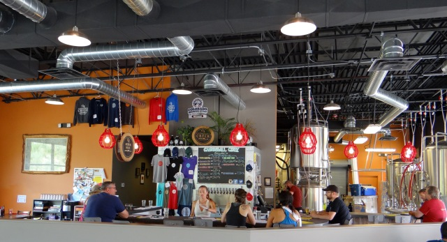 Sipping suds in the Cannonball Creek taproom.